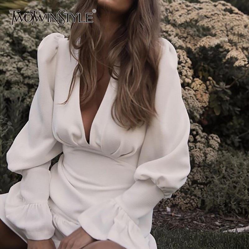 TWOTWINSTYLE Elegant Slim Women Dress V Neck Lantern Sleeve High Waist Ruffles Mini Dresses Female Casual