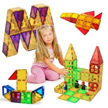 128 Magnetic Blocks Large Set Of Design And Construction Model Plastic Toy Educational