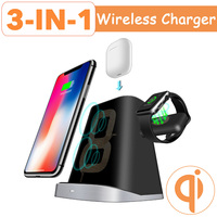 3 IN 1 Qi Wireless Charger Pad for Airpod for Apple Watch 2/3/4 Fast Charging Dock Station For iphone XR XS X 8 Samsung