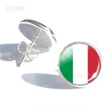 Soccer Fans Earrings Football Girls Ear Nail Jewelry Italy Brazil Argentina Flag Glass Dome Stud Gifts