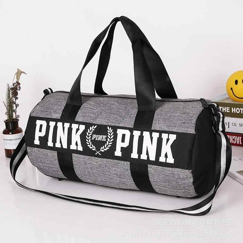 Detail Feedback Questions about Women Travel Fashion Love Pink Handbags  Large Capacity Travel Bags Striped Waterproof Beach Bag Shoulder Bag on ... f5863be979c56