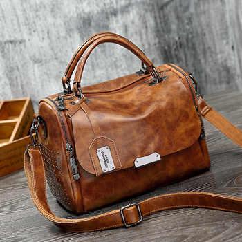 LUYO Vintage Boston Rivet Genuine Leather Luxury Handbags Women Messenger Bags Designer Shoulder Bag Female Tote Bolsos Mujer - DISCOUNT ITEM  52% OFF All Category