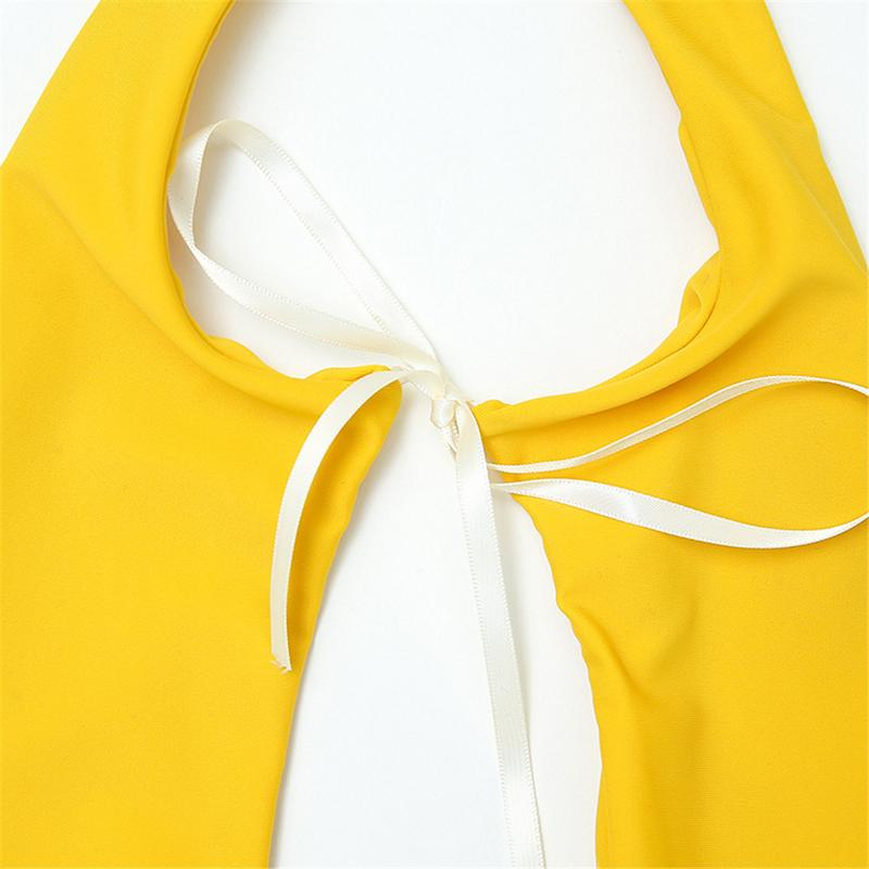 Ladies Solid Color One-Piece Sports Bodysuits Women Beach Beach Sexy Backless Yellow Halter Spandex Nylon Soft Sports Bodysuits