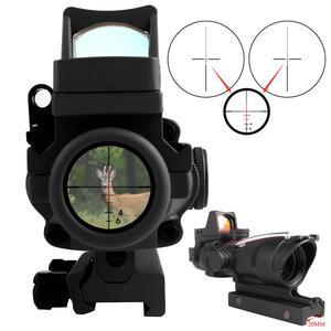 Image 5 - Szybka dostawa usługi prawdziwe zielone czerwone włókno ACOG 4X32 z RMR czerwona kropka z oznaczeniami do strzelania Tactical Hunting Rifle Scope