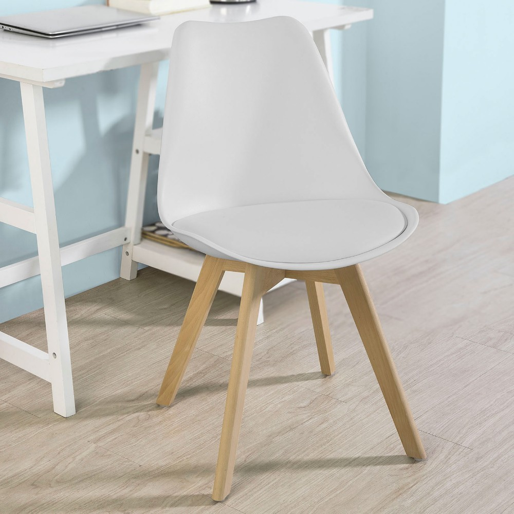 accent kitchen chair dining chair with pu leather seat solid wood swivel function SoBuy FST58-W, Dining Chair Kitchen Office Chair, Natural Solid Wood Legs with Cushioned Seat