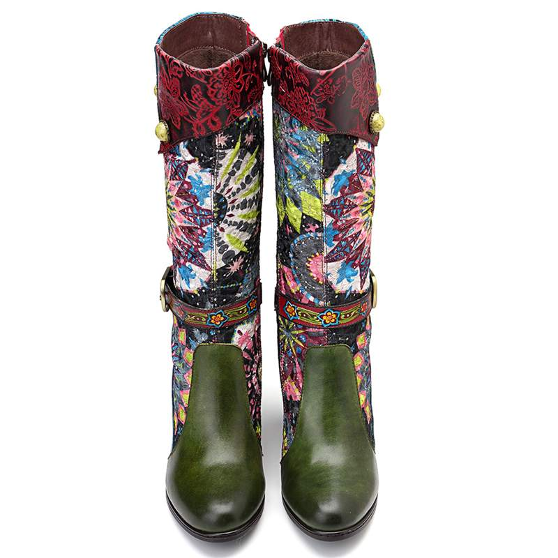Socofy Retro Bohemian Mediados de pantorrilla botas Mujer Zapatos Mujer cuero genuino Cowgirl botas Vintage cremallera bloque tacones altos 2019 nuevo-in Botas a media pierna from zapatos    3