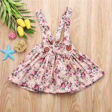 2019 New Baby Girls Toddler Suspender Skirt Summer Fashion Kids Floral Sleeveless Bandage Lace Up Skirts Party Bib Strap Skirt