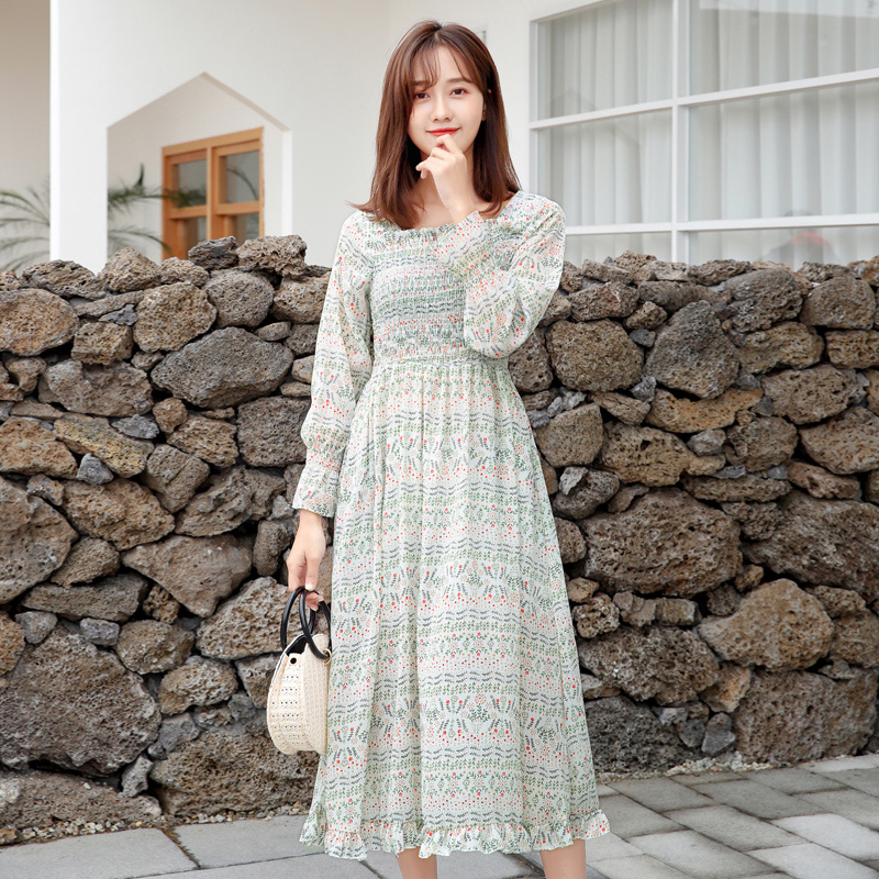 603ed8e954c 2019 New Spring Summer Chiffon Print Dress Casual Cute Women Long Square  Collar Dresses Long Sleeve
