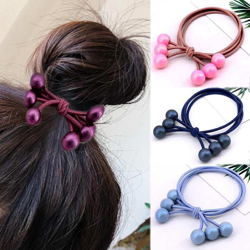 Bead Ponytail Tie Gum 1PC Elastic Hair Holders Rubber Band Hair Rope Adjustable Fashion Hair Accessories Multicolor Pearls