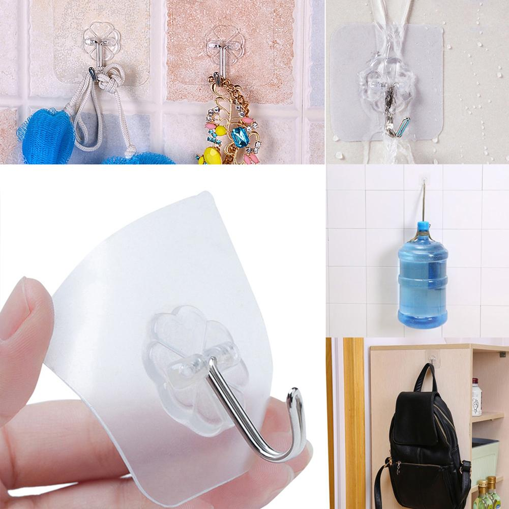 6 Pcs Self Adhesive Strong Stick Transparent Flower Wall Hook Bathroom Hanger Home Storage & Organization