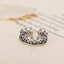 Retro Style 925 Sterling Silver Crown Open Rings For Women Vintage Jewelry Accessories Free Shipping недорого