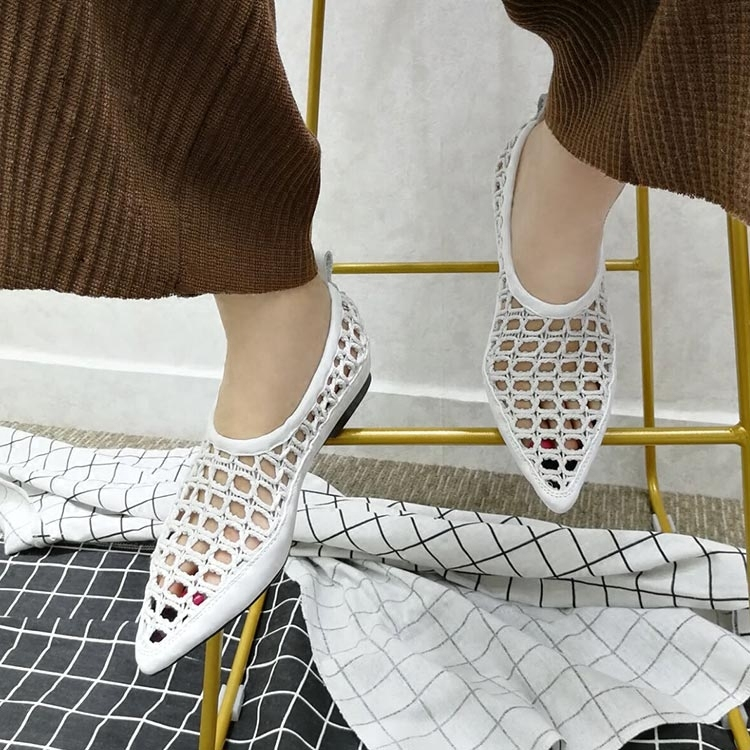 2018 Hot Summer Shoes Woman Leather Knit Fretwolk Hollow Mesh Pointes Toe Design Flats Casual Sexy Rome Cozy Tipe Shoes Woman2018 Hot Summer Shoes Woman Leather Knit Fretwolk Hollow Mesh Pointes Toe Design Flats Casual Sexy Rome Cozy Tipe Shoes Woman