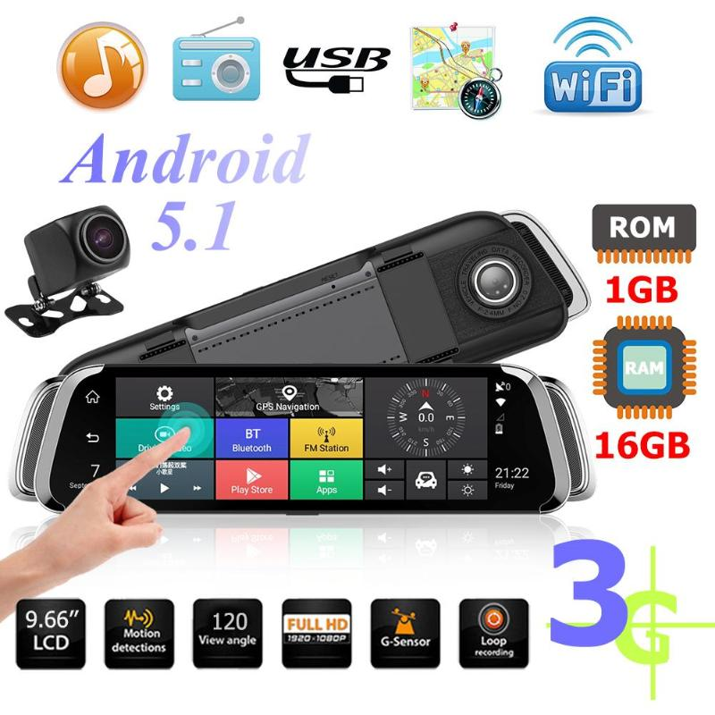 3G/4G 10 pouces voiture rétroviseur DVR caméra double lentille Android 5.1 Dash Cam Dash Cam Smart voiture HD fonction d'enregistrement vidéo Camer
