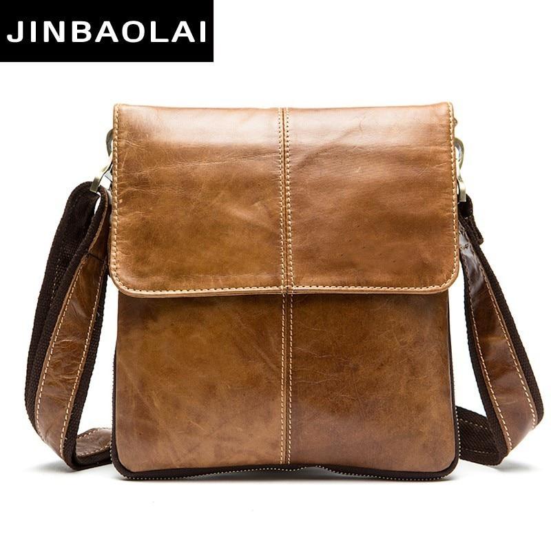 JINBAOLAI Messenger Bag Men Shoulder Bag Genuine Leather Small Male Man Crossbody Bags For Messenger Men