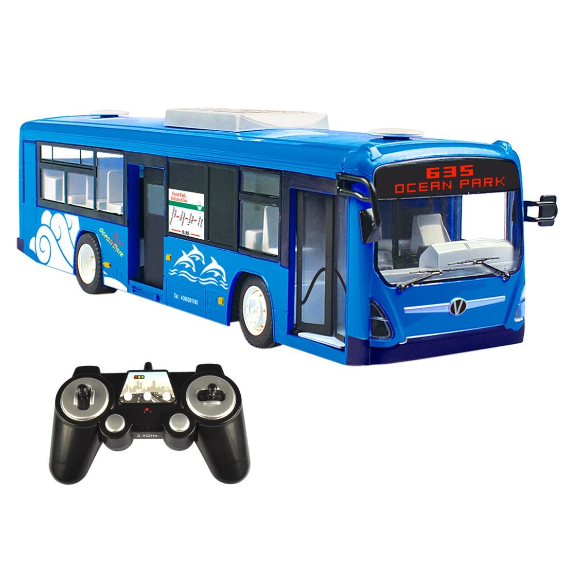 Rowsfire 2.4g été Rc voiture Bus ville Express modèle Rc jouet voiture avec lumière réaliste et son-télécommande Bus jouets rouge/bleu
