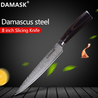 Damask Damascus Kitchen Knife 8 Inch Slicing Knife Color Wood Handle 73 Layer Japanese VG10 Damascus Steel Knives Kitchen Tools
