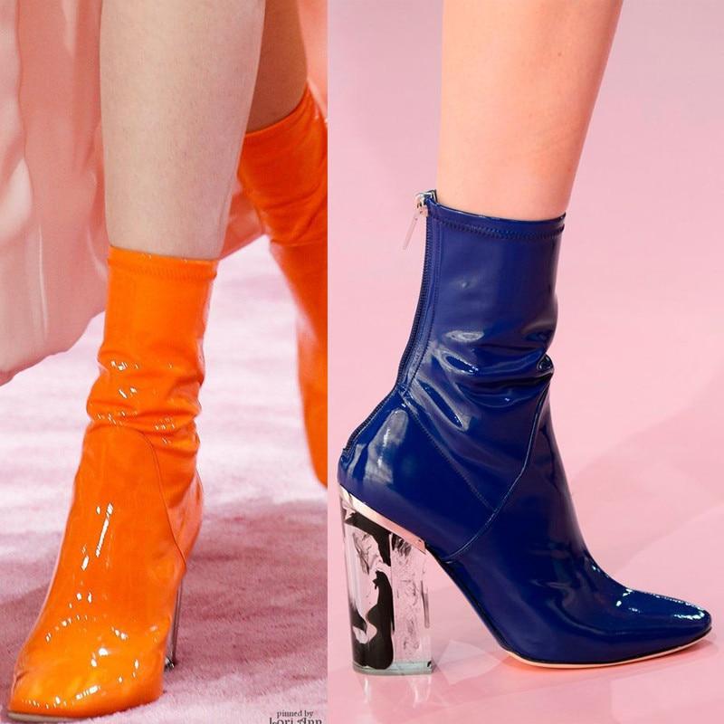 Cuir Sexy Bottines as Élastiques Chaussettes Femmes Chaussures Cm Conception Transparent Talons Courtes Luxe Bottes Haut En Talon As Verni Picture Pvc Tube Mince Picture De 9 aSOwvU