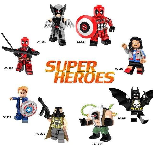 DC Super Heroes Legoing Super-heróis Capitão América Batman Deadpool Dolls Figuras de Ação Blocos Brinquedos Para Crianças Do Bebê