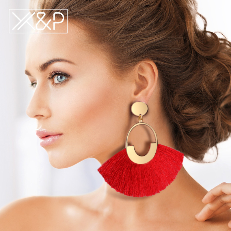 X&P  Bohemian Big Tassel Drop Earrings For Women Lady Female Fringe Handmade Dangle Statement Fashion Woman Earring 2018 Jewelry