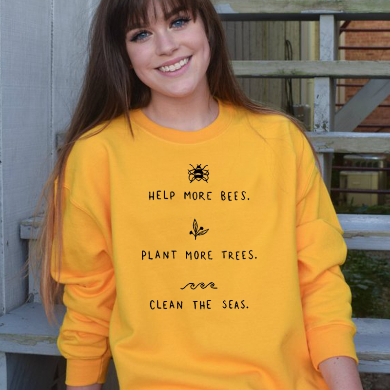 6f91ff27b17ae US $14.99 30% OFF|Save More Bees Sweatshirt Women Plant More Trees Causal  Oversized Hoodie Clean The Seas Jumpers Yellow Hoodies Drop Ship Gai-in ...
