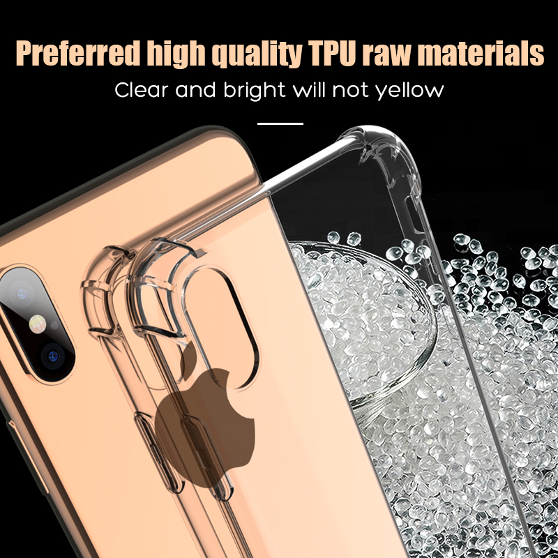 Luxury Shockproof Silicone Phone Case For iPhone X XS XR XS Max 8 7 Plus 6 6S Plus 5 5S Case Transparent Protection Back Cover
