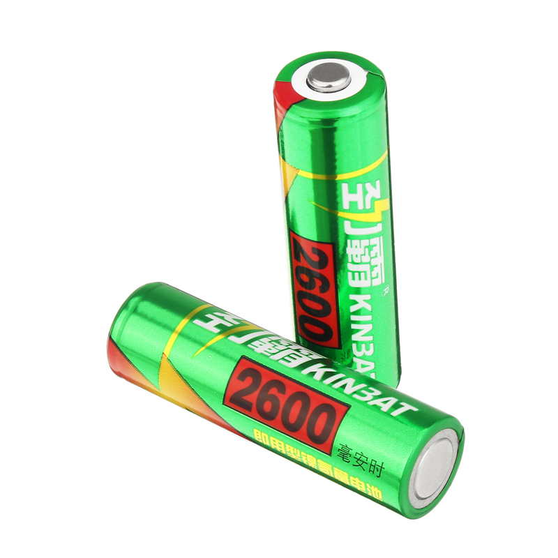 2 pcs AA 2600mA Ni MH Rechargeable Batteries NIMH