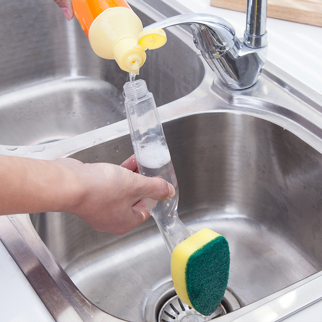พร้อม Refill Liquid Soap Dispenser Scrubber ทำความสะอาดผลิตภัณฑ์ซักผ้าทำความสะอาดแปรงเปลี่ยนได้ Couring Pad ฟองน้ำจาน