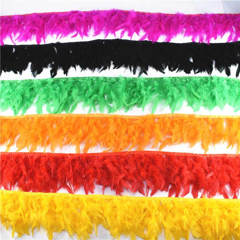 도매 10 미터 솜털 아름다운 터키 깃털 리본 프린지 4-6 인치 터키 marabou 깃털 트리밍 스커트 드레스 트림
