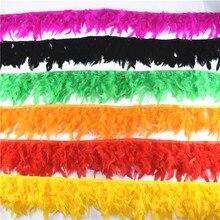 Venta al por mayor, 10 metros de plumas de pavo esponjosas, cinta de flecos de 4 6 pulgadas, adorno de plumas de pavo marabou, adornos de falda para vestido