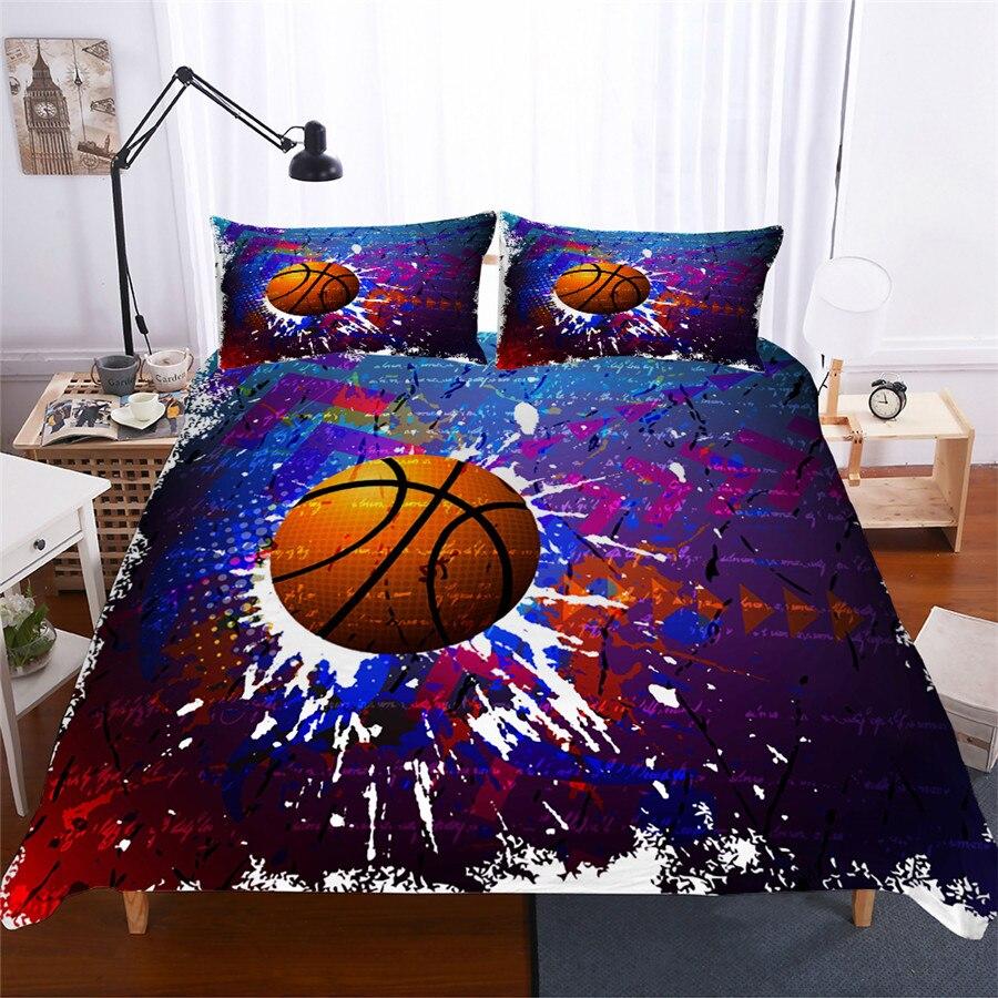 Постельное белье набор 3D печатных пододеяльник покрывало, Комплект постельного белья Баскетбол домашний текстиль для взрослых реалистичные постельное белье с наволочкой # LQ05-in Наборы постельного белья from Дом и животные