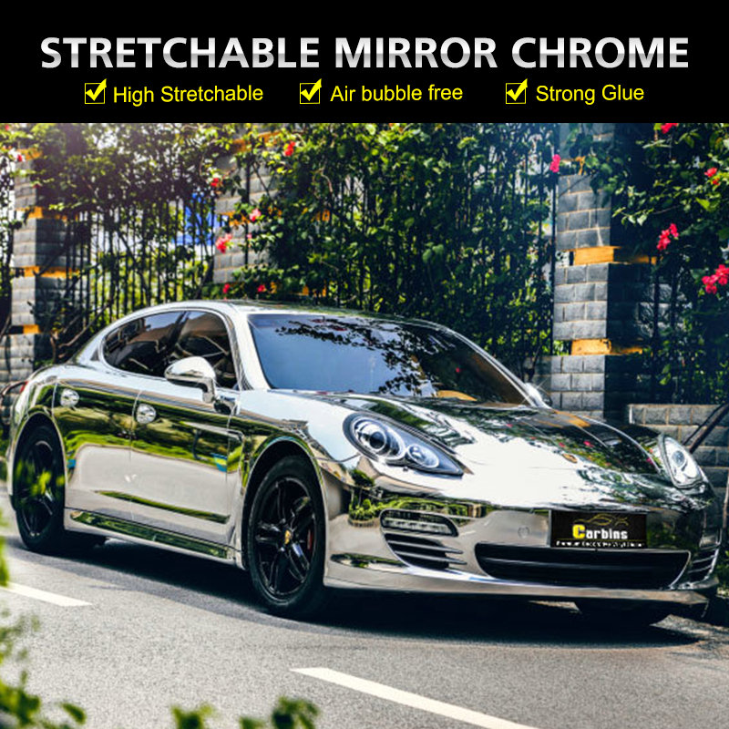 Carbins High Flexible Chrome Mirror Vinyl Car Wrap Silver Aluminium Car Sticker Sheet