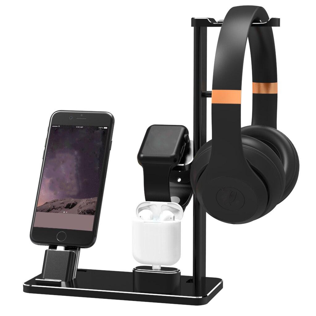 Nouveau Support pour téléphone Mobile 4 en 1 Support de bureau en alliage d'aluminium Support de bureau pour appareil Apple Support de chargement Support de berceau pour Support iPhone