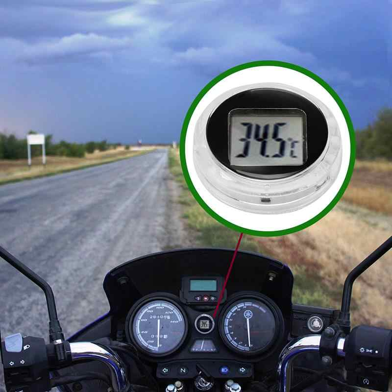 Motorcycle Digital Thermometer Waterproof Stick-On Motorbike Mount Digital Thermometer Digital Clock Car Interior Decoration