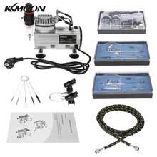 Kit Aerógrafo Com Compressor de Ar profissional Dual-Ação Passatempo Spray Air Brush Set Tatuagem Da Arte Do Prego Pintura De Abastecimento De Limpeza escova