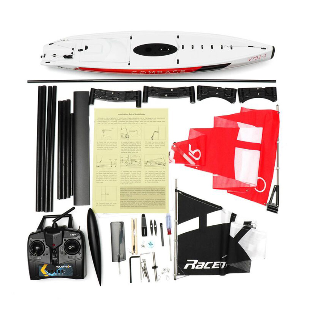 Volantexrc 791 1 65CM 2.4G 4CH RC Boat Compass Pre Assembled Sailboat Without Battery Toy Easy Handling And DIY RC Boats Toys