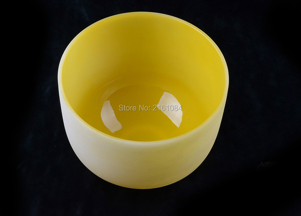 12 Yellow Color E Solar Plexus Chakra Frosted Quartz Crystal Singing Bowl with free suede and o-ring12 Yellow Color E Solar Plexus Chakra Frosted Quartz Crystal Singing Bowl with free suede and o-ring