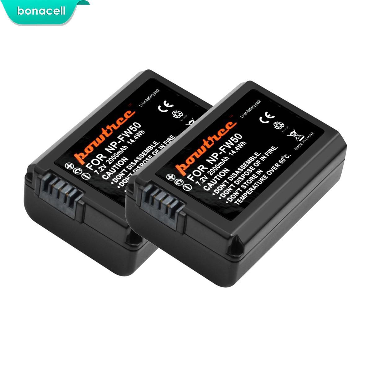 Bonacell 2000mah NP-FW50 NP FW50 Battery AKKU For Sony NEX-7 NEX-5N NEX-5R NEX-F3 NEX-3D Alpha a5000 a6000 DSC-RX10 Alpha 7 a7II
