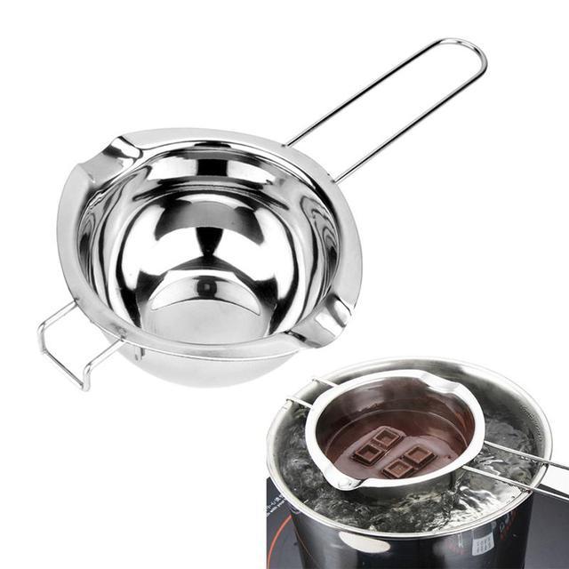 Super Double Boiler Pot Universal Masukkan Pan 304 Stainless Steel 2 Pour Spouts Chocolate Melting Pot