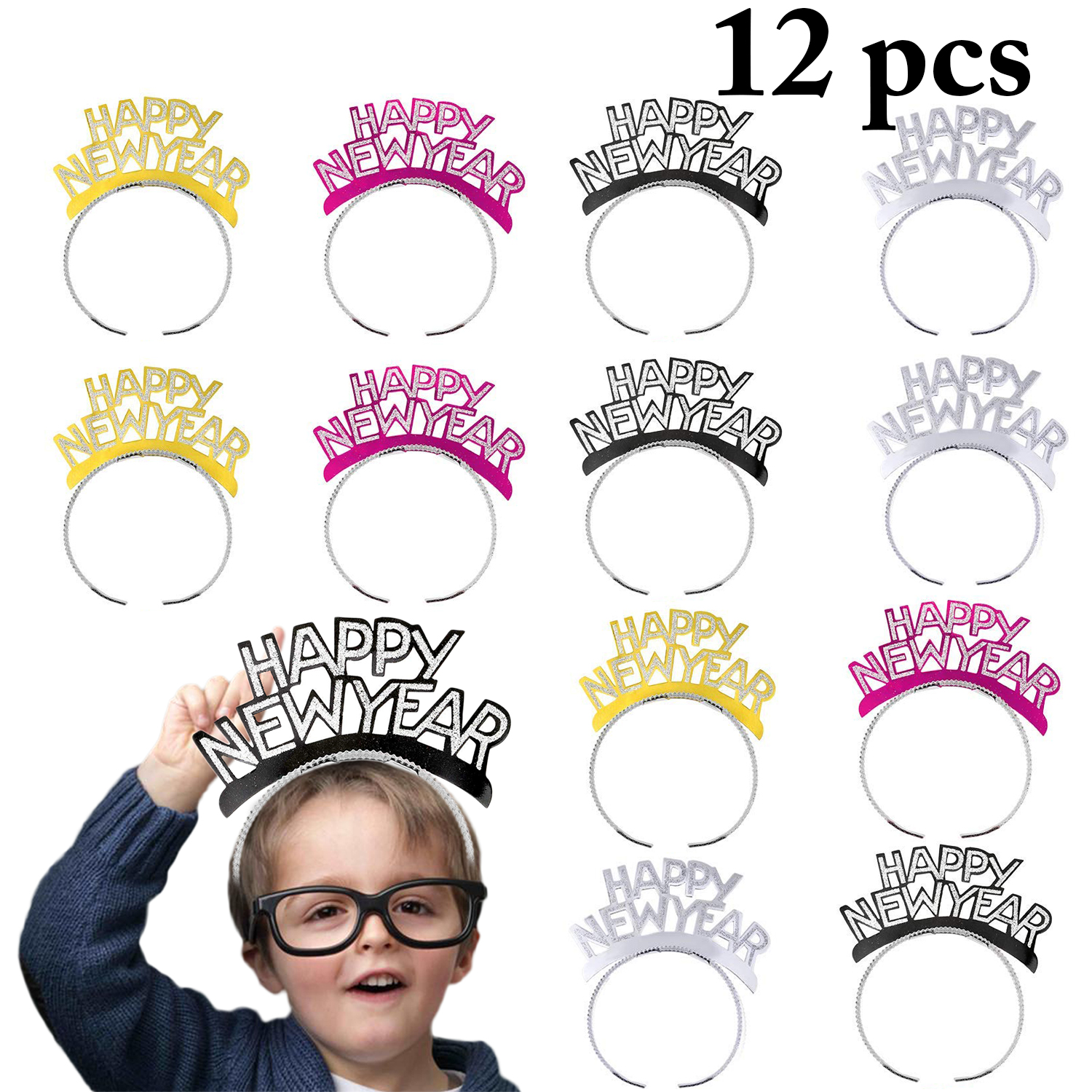 12 PCS Fashion New Year Party Headband Shining Hair Hoop For Festival Decor With 4 Colors Easy To Wear