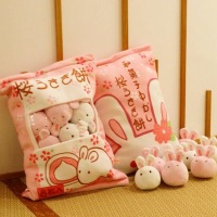 1pc Cute Rabbit Plush Pillows With 8 Small Pudding Bunny Girls Boy Gift Lovely Kids Bolster Toys For Children PP Cotton