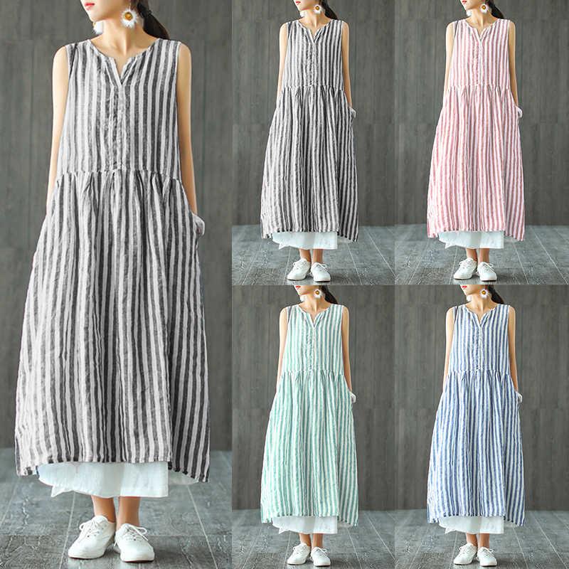 c468199151ef Summer ZANZEA Vintage Long Shirt Vestido 2019 Women Casaul Sleeveless V-neck  Striped Loose Vest