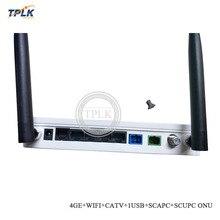 AliExpress Лучшая цена 4GE+ wifi+ CATV+ 1USB+ SC/APC+ SC/UPC GPON ONT ONU с 1SC/APC разъемом и 1SC/UPC разъемом, с CATV