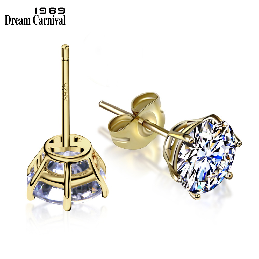 DreamCarnival 1989 Simple One Stone Studs Zircon Crystal Sterling Silver 925 Gold color Fashion Jewelry Stud Earrings Z00354DreamCarnival 1989 Simple One Stone Studs Zircon Crystal Sterling Silver 925 Gold color Fashion Jewelry Stud Earrings Z00354