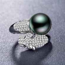 925 silver jewelry treasure ring Leopard head pearl open  rings Luxury stone vintage black pearl gold   stainless steel B892 цены онлайн