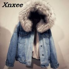 цена на Women winter thick jeans jacket faux fur collar hooded denim coat female lamb fur padded warm denim jacket causal outwear Xnxee