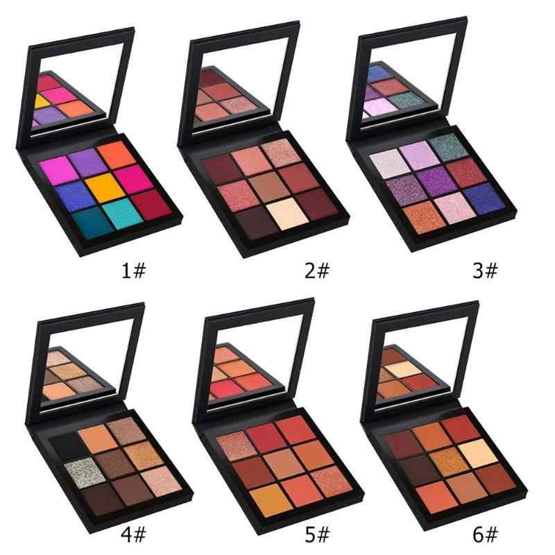 9 Warna Fashion Eyeshadow Palet Eyeshadow Palet Glitter Bubuk Eye Shadow Brush Set Stamp Pigmen Makeup Pallete Maquiagem