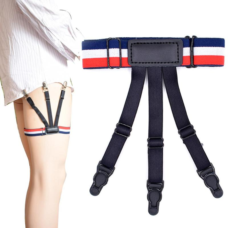 Men Boy Business Non-slip Garter Clip Shirt Stays Garters Elastic Gentleman Shirts Holders Leg Belt Suspenders Braces