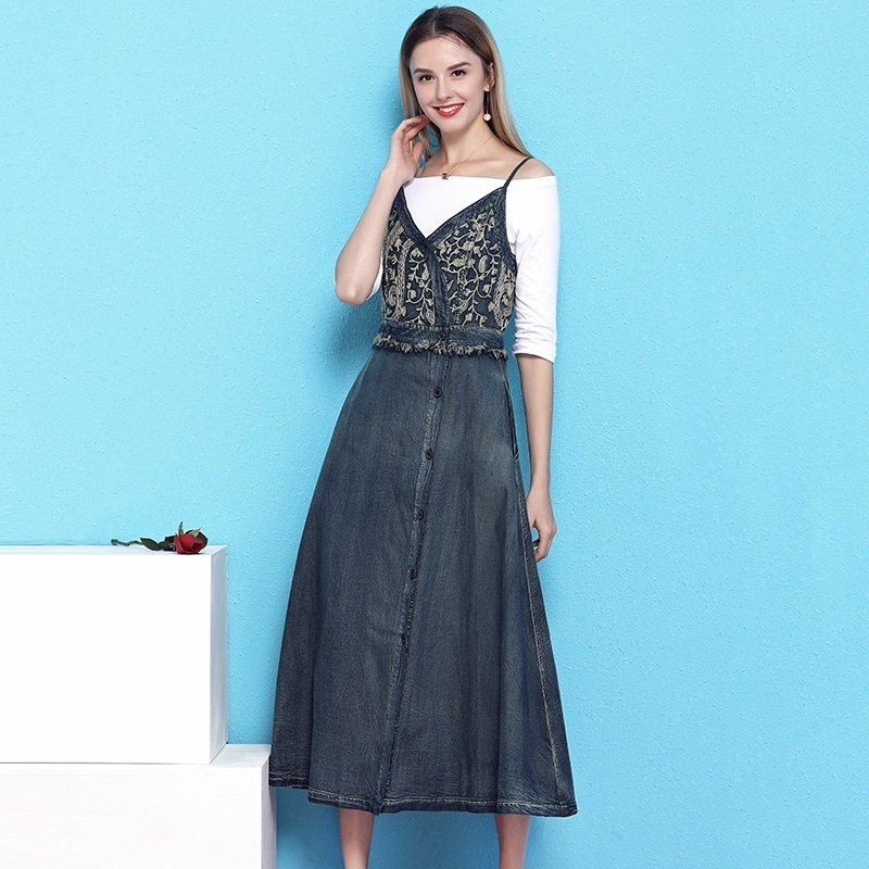 Strap denim dress women summer 2019 new retro waist tassel temperament feminino hollow out big swing dress mujer NW19B6024