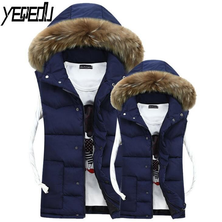 #<font><b>3601</b></font> 2018 Winter Artificial Fur Collar Down Vest Men Slim Mens Sleeveless Jacket Waistcoat Bodywarmer Couple clothes Plus Size image