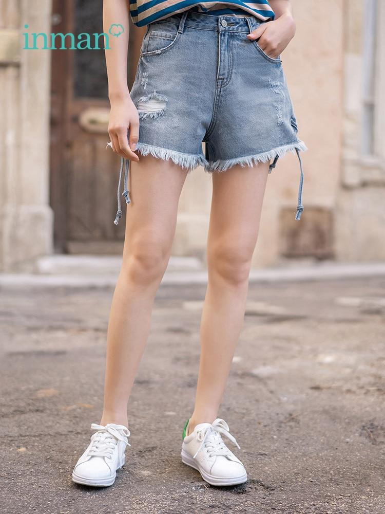 INMAN Summer Cotton Cowboy Lacing Retro Flash Minimalism All Matched Women Short Jeans